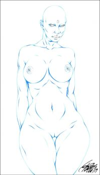 DOCTOR MANHATTAN (FEMALE NUDE VERISON) PENCIL by ARTofTROY