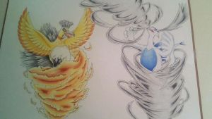 Shiny Ho-oh and Lugia by Adolessence