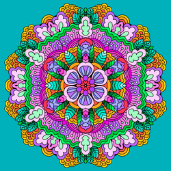 Flowers And Leaves Mandala. by catdragon4