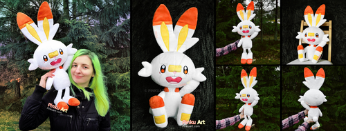 Scorbunny Plush I Pokemon by PinkuArt