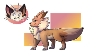 Eevee and Meowth [stream doodles] by sadraii