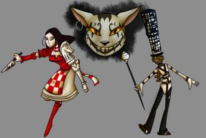 Art Trade - Alice, Cheshire Cat and the Mad Hatter by Psycho-Manchester