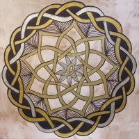 Gold Silver Celtic Knot Mandala by LorraineKelly