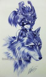 Wolf Link n Midna Pen Sketch by TixieLix
