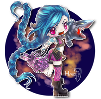 League of Legends Jinx classic skin by HarukArt