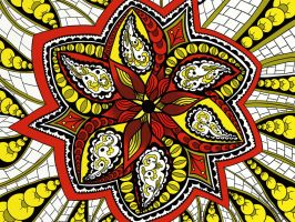 Red and Yellow Tangled Mandala by LorraineKelly