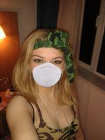 Chenelle Potts wearing her protective dust mask by Ninjacat14