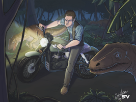 Riding with velociraptors - Jurassic World by SebasVishno