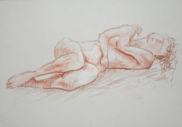 Sepia Woman Lying Down II by WingSketcher