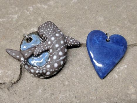 Whale Shark and Heart Pendants! :) by NatureSculptures