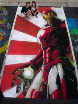 Chalk Art - Iron Man by chelsaroo
