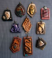 Pendants of Polymer clay, Jasper and Cholla wood by MandarinMoon