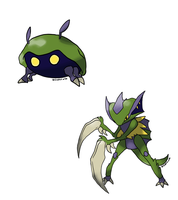 Alolan Kabuto and Kabutops! by SceptiX
