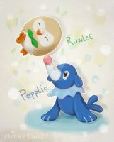 Popplio and Rowlet by cuterino27