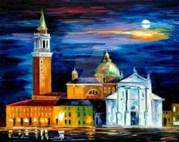 Moon Above Venice by Leonid Afremov by Leonidafremov