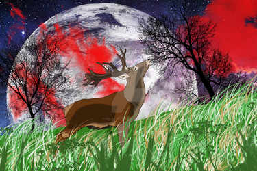 Red Stag Red Sky by GalaxyZento