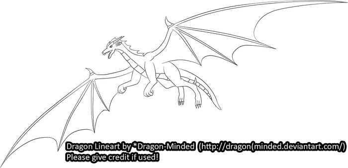 Flying Dragon Line-Art by Dragon-Minded