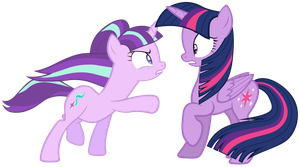 Starlight points at Twilight Sparkle by Tardifice