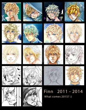Finn Faces over three years by Valeyla