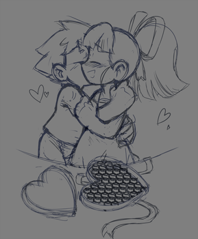Megaman And Roll Valentine Gift And Kiss Sketch by meteorstom