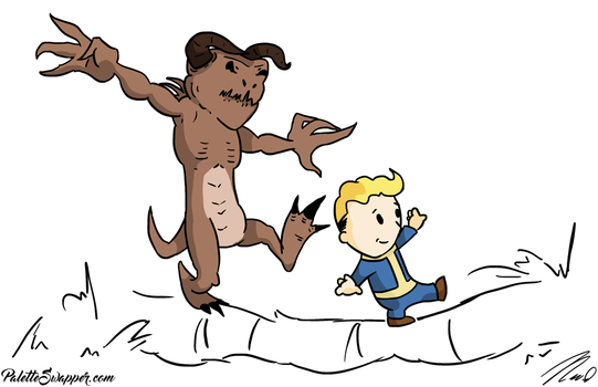 Vault Boy and Deathclaw by MrTree