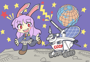 Lunokhod 2 with a Moon Rabbit by KryMizunagij