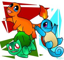 Kanto Starters by SaintsSister47