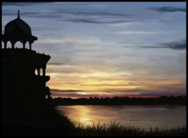 Sunset At Agra Fort by shirly90