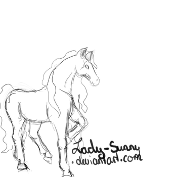 Horse sketch by Lady-Sunny