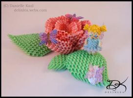 Fairy Flower World  - 3D Origami - by Delinlea