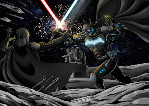 Batman, on the moon, in a duel by DarkEmperor00
