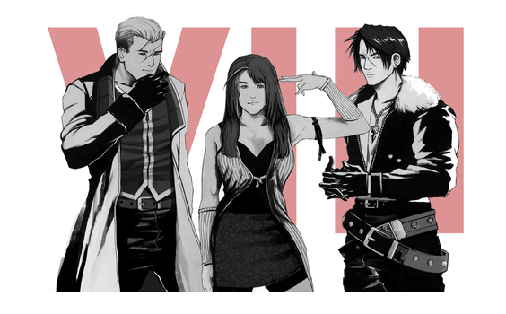 VIII - Rinoa, Squall, and Seifer by cola-san