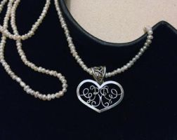 Calligraphy Heart Pendant by SunreiCreations