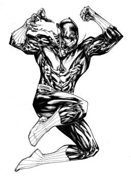 Jumping T'Challa by SpiderGuile