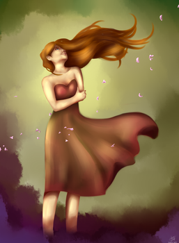 Girl into forest's wind by woutiou