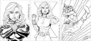 Black Widow sketch card rough pencils by CharlesEttinger