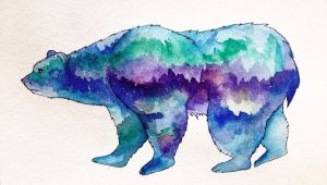 Bear and northern lights by denatant