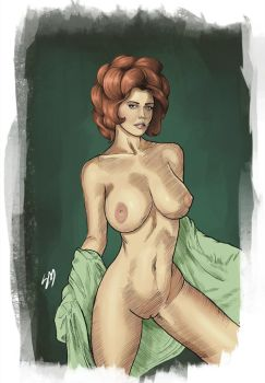 Nude pin up sketch coloured version by Learningasidraw