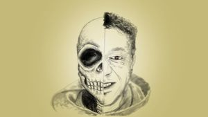Self Portrait with skull by chaitanyak