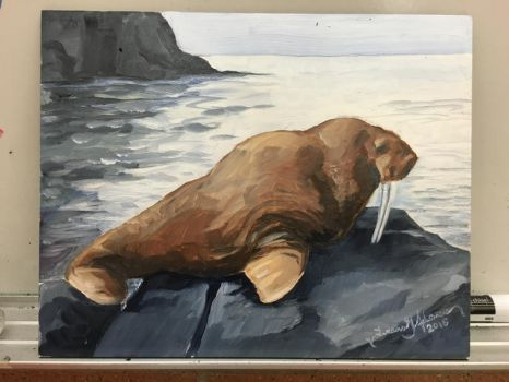 Walrus Oil Painting by tadamson
