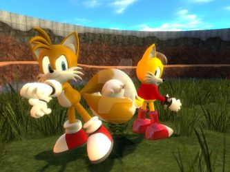 Tails and Miles: Tail Fight by ScottishArtGuy