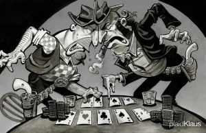Poker Cartoon: 5 Aces by plaidklaus