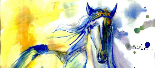 Watercolor Mustang by Madkazer