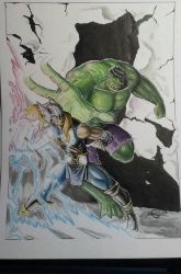Hulk vs Thor watercolored by GregoryKrazed