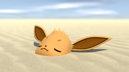 Eevee buried in the sand by kuby64