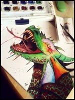 Water Colour Dragon by HannahVictoriaBibby