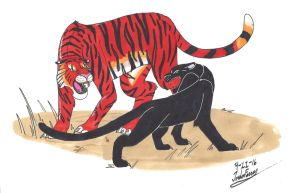 Shere Khan vs Bagheera by clinclang