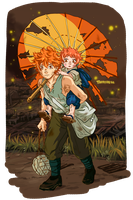 Grave of Fireflies AU Hinata Siblings by TaffyDesu