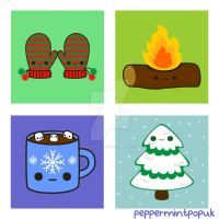 Winter themed illustrations by peppermint-pop-uk