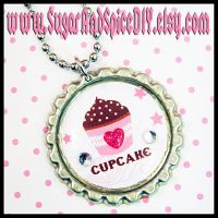 Cupcake Bottle Cap Necklace by wickedland